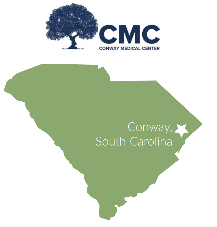 South Carolina map with Conway near the northeast coast of state