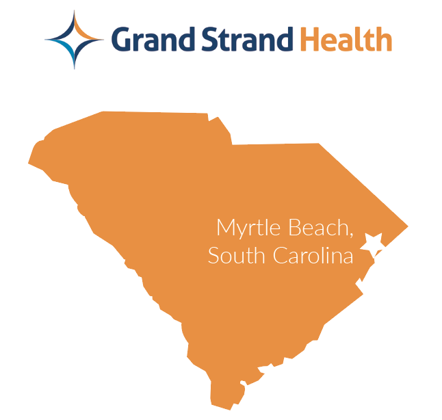 South Carolina map with Myrtle Beach located in eastern coast of state