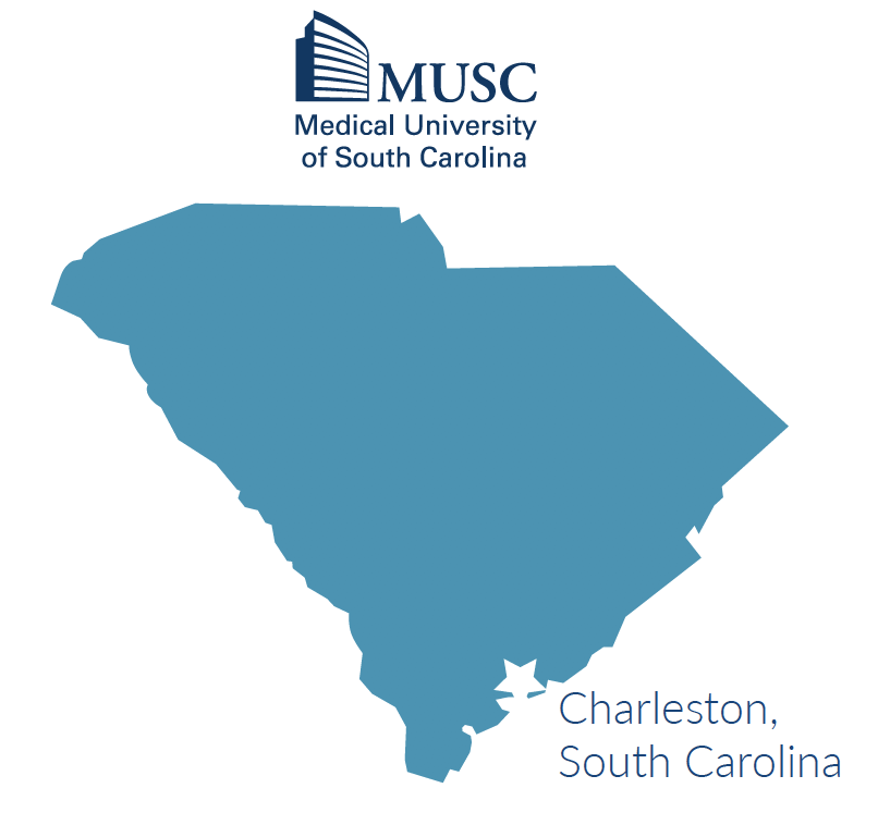 South Carolina map with Charleston located on the eastern coast of state