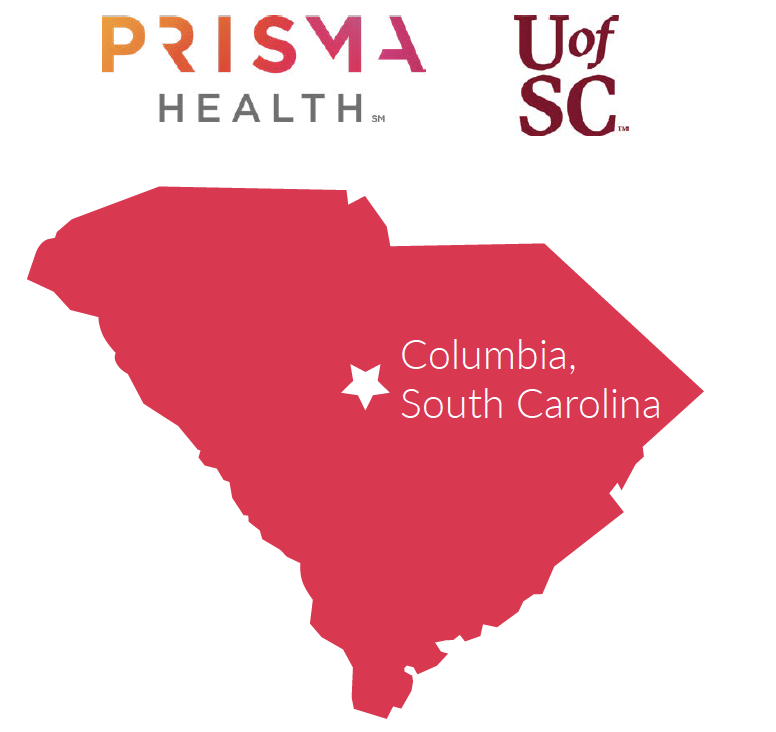 South Carolina map with Columbia located in the center of the state