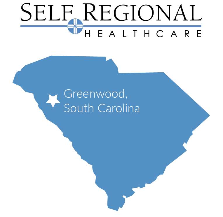 South Carolina map with Greenwood located in the northwest corner of the state