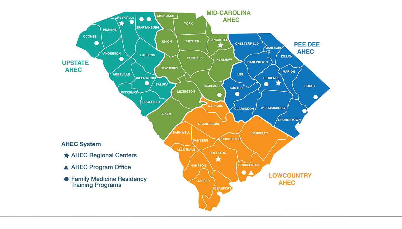 The South Carolina AHEC System consists of the program office in Charleston; four regional AHEC centers in Walterboro, Lancaster, Florence and Greenville; and twelve family medicine residency training programs located in Anderson, Charleston, Columbia, Florence, Greenville, Greenwood, Greer, Murrells Inlet, Myrtle Beach, Seneca, Spartanburg and Sumter.